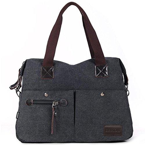 Eshow Damen Canvas Reise Täglich Schultertasche Handtasche Taschen, Schwarz
