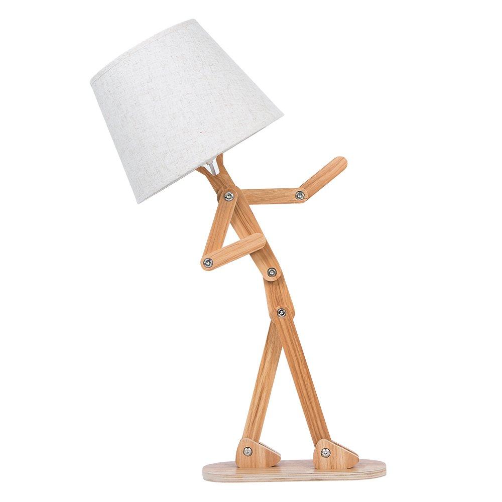 Voglee Novelty Unique DIY Desk Lamp Adjustable Reading Table Light Swing Arm Wood Bedside Nightstand Lamp for Kids Bedroom Living Room