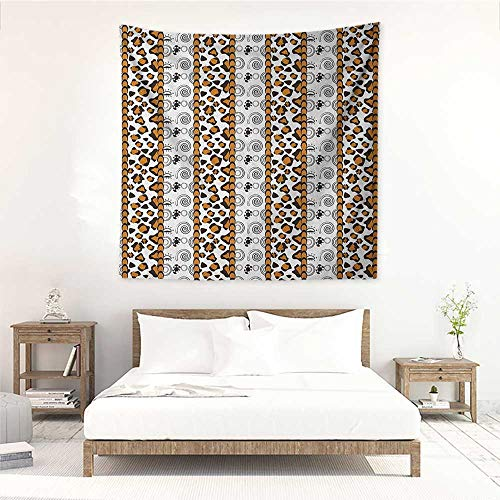 (Zambia Living Room Square Tapestry Cheetah Leopard Skin Pattern with Wildlife Featured Spirals Illustration Occlusion Cloth Painting 47W x 47L INCH Amber Brown White)