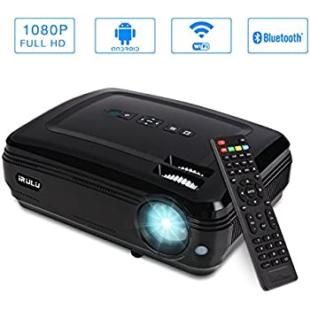 iRULU P6 Video Projector LED 1280x768 HD Support 1080P Android System WiFi Home Theater Mini Cinema USB AV SD HDMI Game Projectors Black (P6-Android Wi-Fi + 1080p)