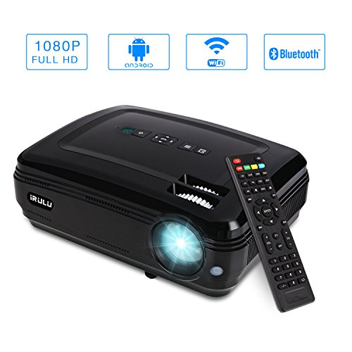 iRULU P6 Video Projector LED 1280x768 HD Support 1080P Android System WiFi Home Theater Mini Cinema USB AV SD HDMI Game Projectors Black (P6-Android Wi-Fi + 1080p) by iRULU
