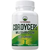Cordyceps Mushroom Capsules (USA Grown) by Peak Performance. Naturally Harvested Cordycep Mushrooms Extract. Energy + Performance. Antioxidant, Beta Glucans Supplement 60 Pills