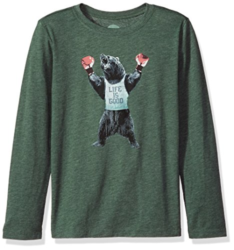 Life is Good Boy's B Long Sleeve Boys Cool T Boxing Bear Lig Fstgrn T-Shirt, Forest Green, Small ()