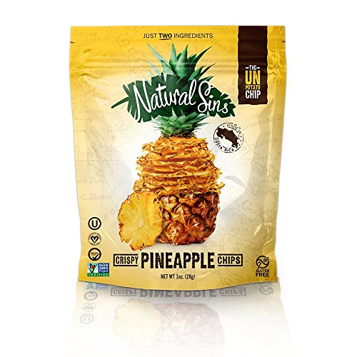 Natural Sins Crispy Chips Pineapple Flavor Baked Dried Bags, 1 oz, 6 Pack