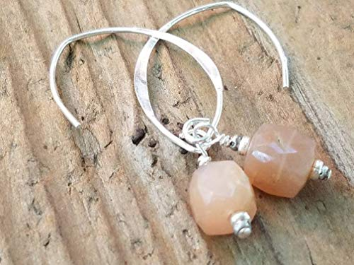 - Peach Moonstone and Sterling Silver Earrings
