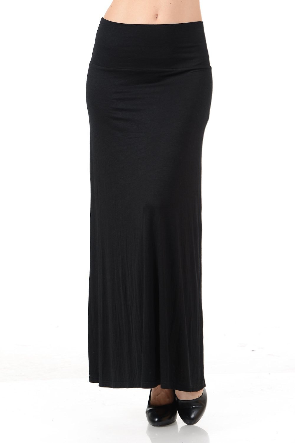 Maryclan Women's Solid High Waisted Full Length Fold Over Flowy Maxi Skirt (Large, Black)