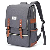 Laptop College School Backpack USB Charge Port Waterproof 15.6in Gray Deal