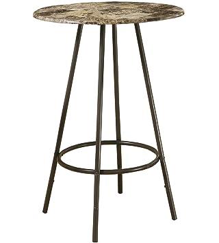 Monarch Specialties Metal Diameter Bar Table, 30 Inch, Cappuccino /Marble/Coffee