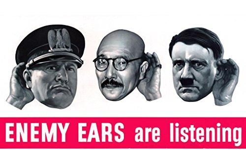 WPA War Propaganda Enemy Ears are Listening White Poster 24x36 inch ()