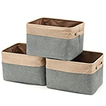 Foldable Storage Bin Basket, [3-Pack] EZOWare Rectangular Foldable Canvas Fabric Tweed Storage Cube Bin Set With Handles - Brown