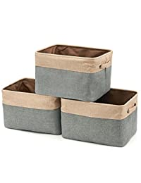 Collapsible Storage Bin Basket [3-Pack] EZOWare Foldable Canvas Fabric Tweed Storage Cube Bin Set With Handles - Brown / Gray For Home Office Closet BOBEBE Online Baby Store From New York to Miami and Los Angeles