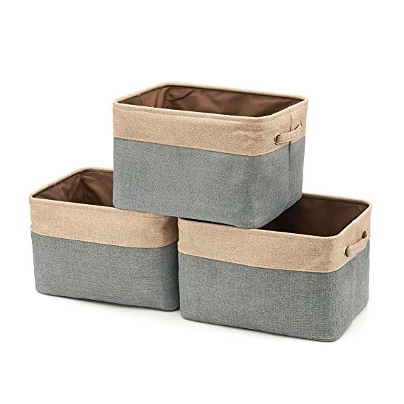 EZOWare Set of 3 Large Canvas Fabric Tweed Storage Organizer Cube Set W/Handles for Nursery Kids Toddlers Home and… - [ MODERN DESIGN ] EZOWare Storage Bins are a perfect way to accessorize, organize, and store items at home, office, dorm, loft or other dwellings. We offer best organization and storage solutions that complement lifestyles [ DURABLE MATERIAL ] Constructed of durable, decorative and attractive jute, cotton & PVE lining with linen interior lining. Metal eyelets and sturdy heavy duty handle make it easy to carry or pull off and out of shelves [ ORGANIZATIONAL SOLUTION ] Fashionable Storage Container: Designed to match interior decor and style in any room in the home or office. Enjoy the Brown and grey neutral color scheme for a rustic accent - living-room-decor, living-room, baskets-storage - 51qtf9WDTaL. SS570  -