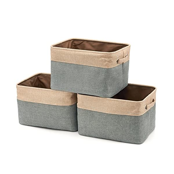 EZOWare Set of 3 Large Canvas Fabric Tweed Storage Organizer Cube Set W/Handles for Nursery Kids Toddlers Home and Office – 15 L x 10.5 W x 9.4 H -Gray/Brown