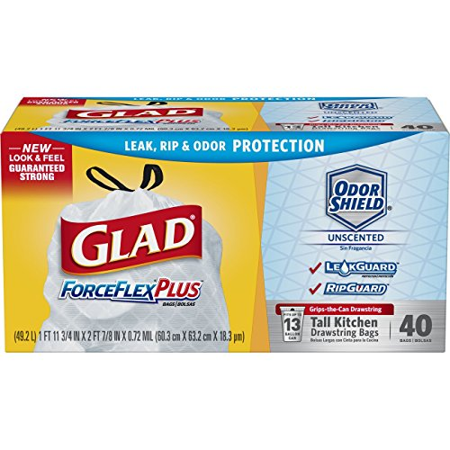Glad ForceFlexPlus Tall Kitchen Drawstring Trash Bags – Unscented -13 Gallon – 40 Count (Pack of 6) (Packaging May Vary)