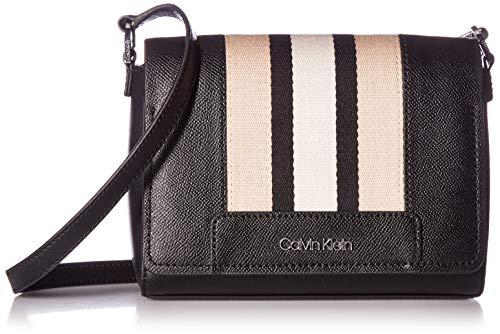 Calvin Klein Clara Stucco Leather Key Item Demi Shoulder Bag, black combo