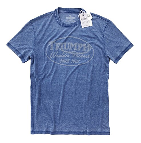 (Lucky Brand Men's - Faded Blue Triumph Logo T-Shirt (S, Monaco Blue))