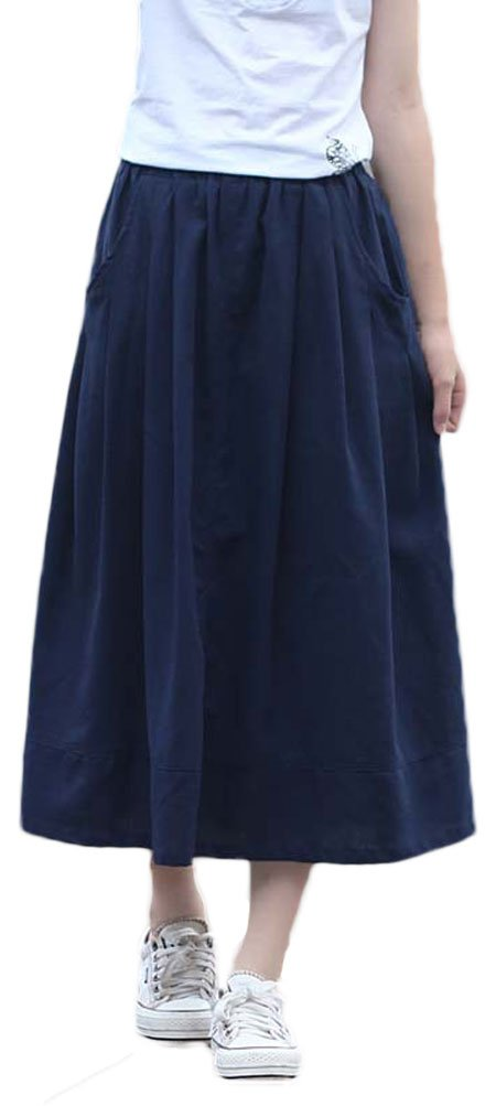 Soojun Women's Casual Loose Pleated Cotton Linen Long Maxi Skirts Navy