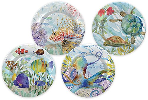 Punch Studio Oceana Boxed Set of 4 Melamine Plates (44338)