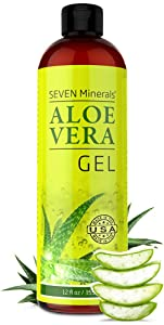 Organic Aloe Vera Gel with 100% Pure Aloe From Freshly Cut Aloe Plant, Not Powder - No Xanthan, So It Absorbs Rapidly With No Sticky Residue - Big 12 oz