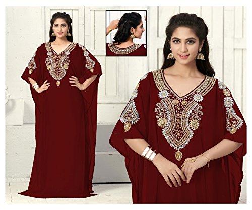 OKM Women's Dubai Style Kaftan Caftan Farasha Maxi Dress DN17 - Maroon
