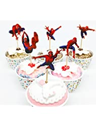24pc The SPIDERMAN Cupcake Topper Picks Boy's Party Decoration Kid's Birthday Party Decoration Supplies