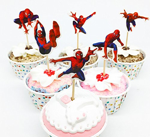 24pc The SPIDERMAN Cupcake Topper Picks Boy's Party Decoration Kid's Birthday Party Decoration (Spider Man Cakes)