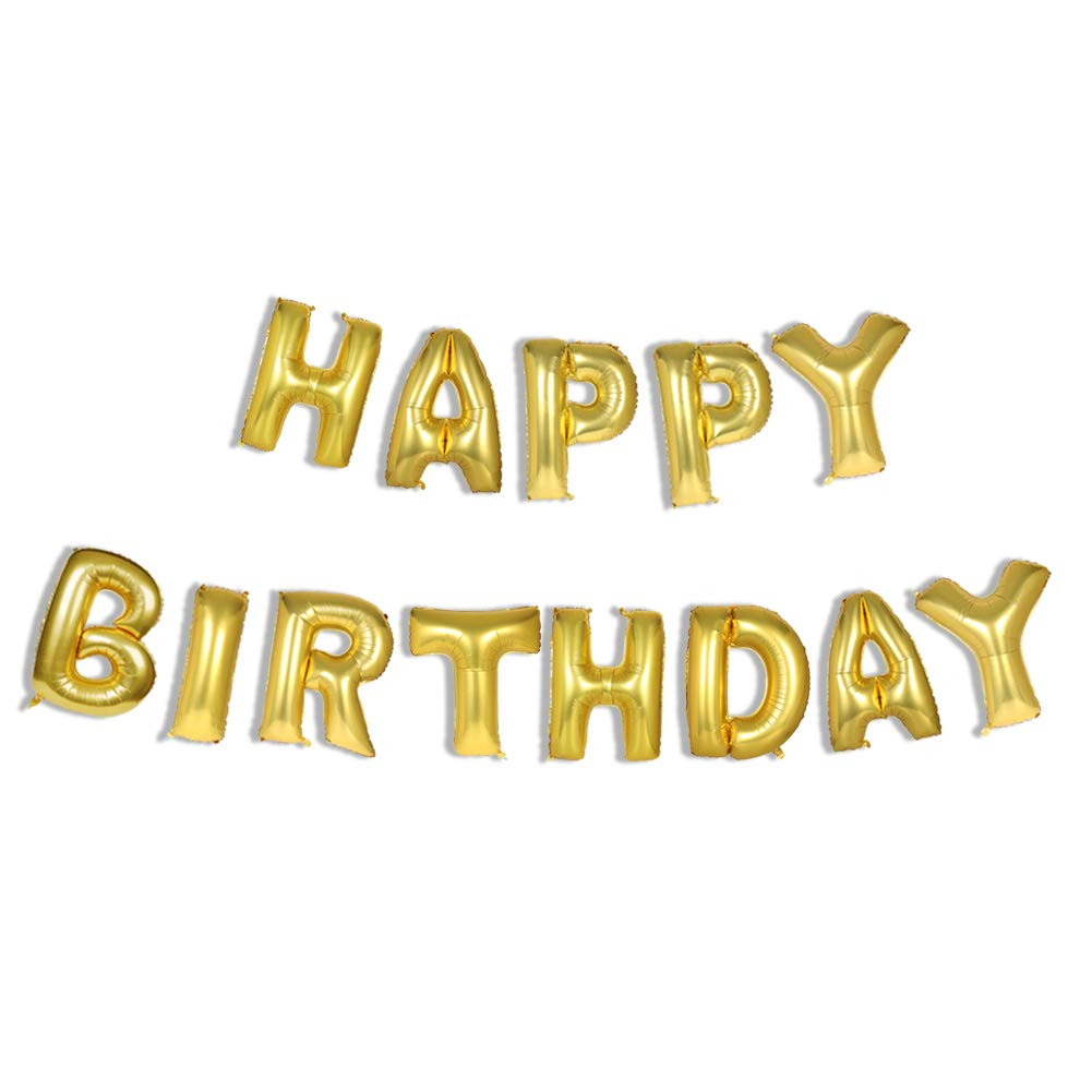 Amazon Lovne Letter Balloons Helium Foil 16 Inch Gold Happy Birthday Alphabet Balloon For Wedding Party Home Kitchen