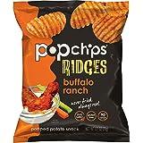 Popchips Ridged Potato Chips, Buffalo Ranch Potato Chips, (0.7 oz Bags), Gluten Free, Low Fat, No Artificial Flavoring, Kosher (Pack of 24)