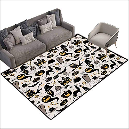 Children's Rug Vintage Halloween Halloween Cartoon Jack o Lantern Tombstone Skulls and Bones Easy to Clean Carpet W6' x L7'10 Light Grey Multicolor]()
