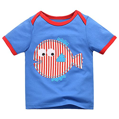 Fish Tee Cotton Organic - GLEAMING GRAIN Toddler Boys' Graphic Tees Little Kids Casual Short Sleeve Cotton Tops For 18M, Fish Pattern