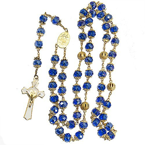 Crystal Rosary Gorgeous - St Benedict Gold Plated Deep Blue Crystals Rosary Beads Miraculous Medal Catholic