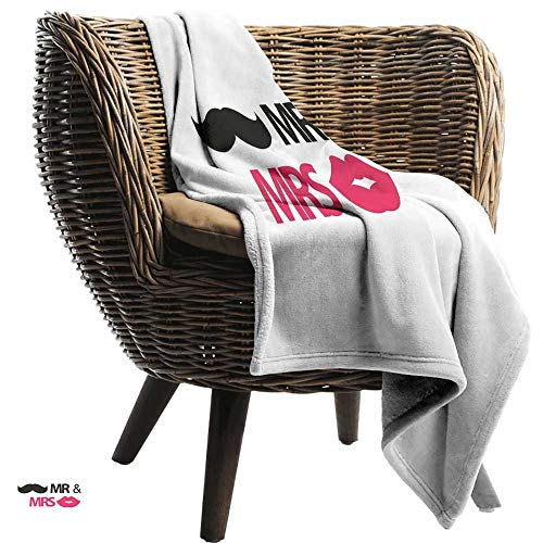 Super Soft Blanket Wedding Funny Stencil Art Lips Moustache Mr and Mrs Retro Stylized Design Art Print car/Airplane Travel Throw 84