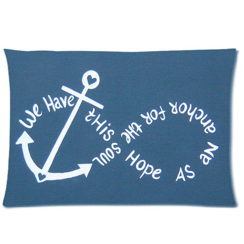 We have this hope as an anchor for the soul, firm and secure – Hebrews 6:19 – Bible verse Decorative Throw Pillow Cases Cushion Covers 20×26 (two sides) Zippered Rectangle