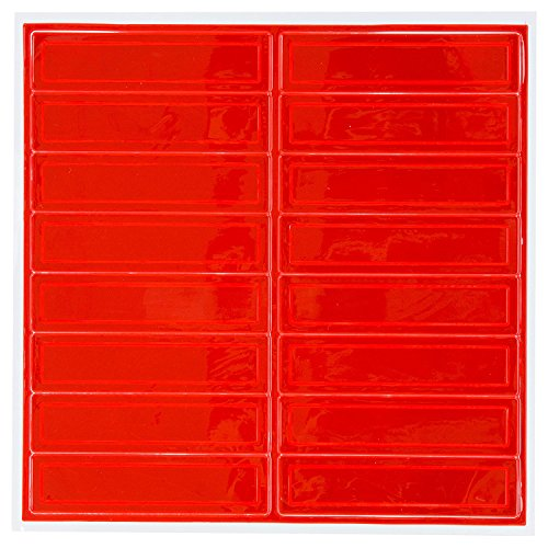 (Pack of 16) Troy Safety Adhesive Vinyl Retro-Reflective Hard Hat/Helmet Sticker, 1'' Length x 4'' Width x 0.014'' Thickness, Red by Troy (Image #2)