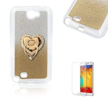 For Samsung Galaxy Note 2 Case [with Free Screen Protector].Funyye Clear Soft Ultra Thin Gel Silicone Shock Proof Durable Scratch Resistant Jelly Rubber TPU Glitter Gold Gradual Colour Changing With Love Hearts Ring Holder Protective Case Cover Skin Shell for Samsung Galaxy Note 2
