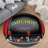Nalahome Modern Flannel Microfiber Non-Slip Machine Washable Round Area Rug-es Arcade Machine Retro Gaming Fun Joystick Buttons Vintage 80s 90s Electronic Multicolor area rugs Home Decor-Round 55''