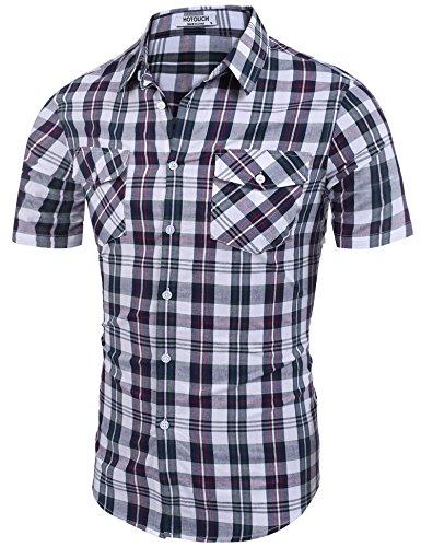 HOTOUCH Men's Explorer Fancy Short Sleeve Plaid Shirt Plaid 5 S