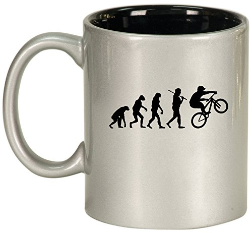 Ceramic Coffee Tea Mug Cup Evolution Mountain BMX Bike (Silver)