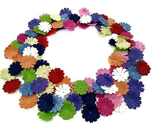 NAVA CHIANGMAI 100 pcs Daisy Mulberry Paper Flower Petals Artificial Craft Scrapbooking Embellishment,Wedding Supply Accessory DIY,Assorted Color Petal Flower (Mixed -