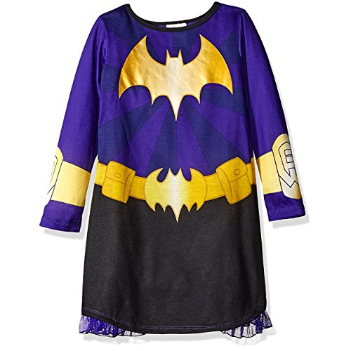DC Comics Big Girls' Batdc Hero Long Sleeve Dorm with Cape, Black/Purple, 7/8 (Purple Batgirl Costume)