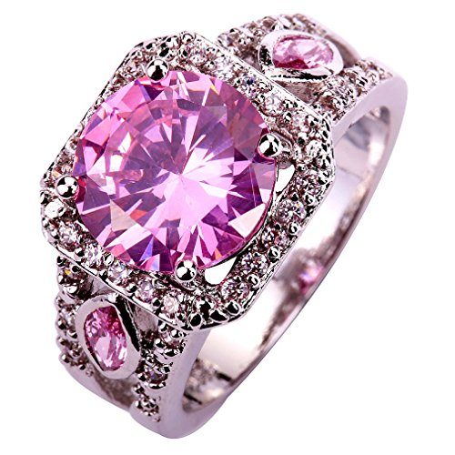 (YAZILIND Women Hollow Silver Plated Pink Cubic Zirconia Wedding Band Crystal Ring)