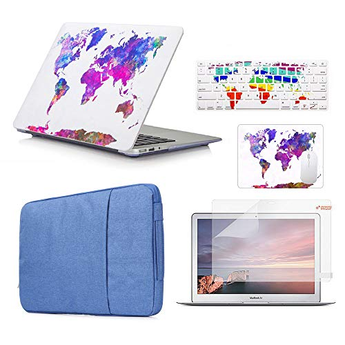 Funut 5 in 1 Bundle Deal Rubberized Plastic Hard Case Shell, Keyboard Cover, Screen Protector, Mouse Pad and Sleeve Bag for Mac Pro 13 2016 2017 2018 Release A1706 A1989, Colorful Map
