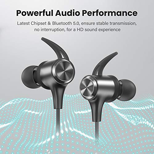 Boltune Bluetooth Headphones Built-in Mic Sports Earbuds for Running with Magnetic Connection 16 Hours Playtime IPX7 Waterproof Bluetooth V5.0 Wireless Headphones