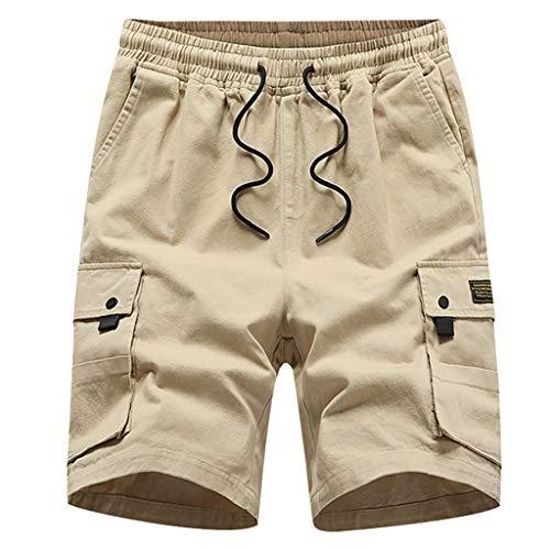 Pengy Men's Shorts Button Cotton Multi-Pocket Overalls Shorts Fashion Pant Performance Series Extreme Comfort Short Khaki