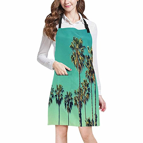InterestPrint Adjustable Bib Apron for Women Men Girls Chef with Pockets, Palm Tree Beach Summer Travel Vacation Novelty Kitchen Apron for Cooking Baking Gardening Pet Grooming Cleaning by InterestPrint (Image #1)