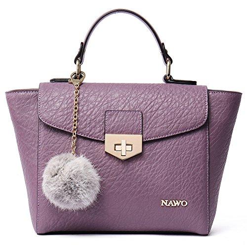 NAWO Leather Designer Handbags Shoulder Tote Top-handle Bag Clutch Purse for Women Purple (Discount Designer Bags)