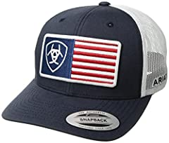 Show your patriotic side with this Ariat cap by medium and f western products. The cap has a navy brim and bill with a USA flag accented with the Ariat signature logo. The back is white mesh and has a 7 post snap closure to get that perfect f...