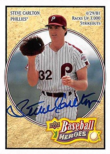 Steve Carlton autographed baseball card (Philadelphia Phillies) 2008 Upper Deck Heroes #139 - MLB Autographed Baseball - Steve Carlton Autograph