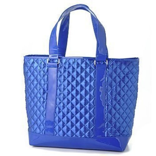 Perlina Quilted Satin Tote & Matching Clutch Purse Set - Cobalt Blue
