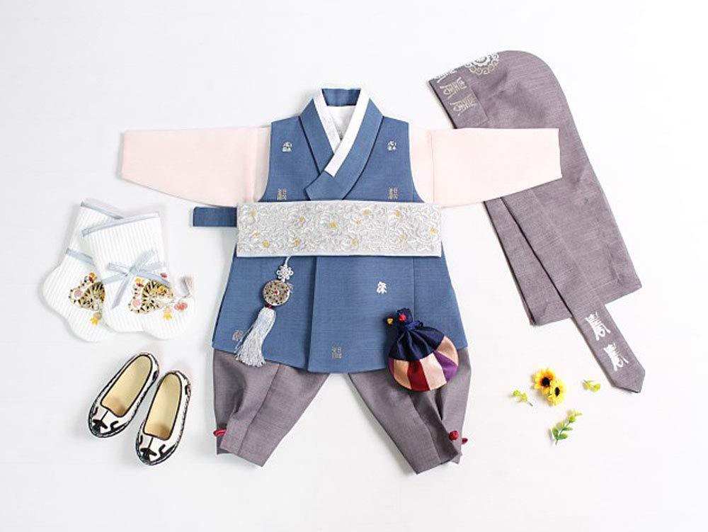 Baby 1st Birthday Hanbok for boy Blue Korea Traditional DOL Party jsm200